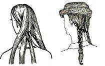 Рисунок-инструкция плетения двух кос.