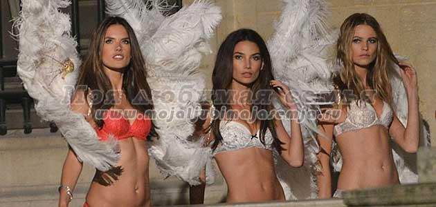 В Париже провели съемку рождественской промо-кампании Victoria's Secret.