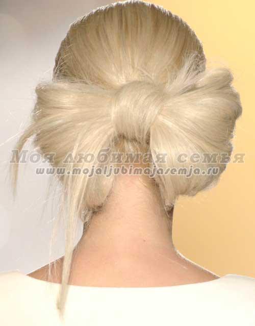 сделать бант из волос