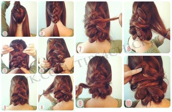 Прическа на длинные волосы своими руками мастер класс