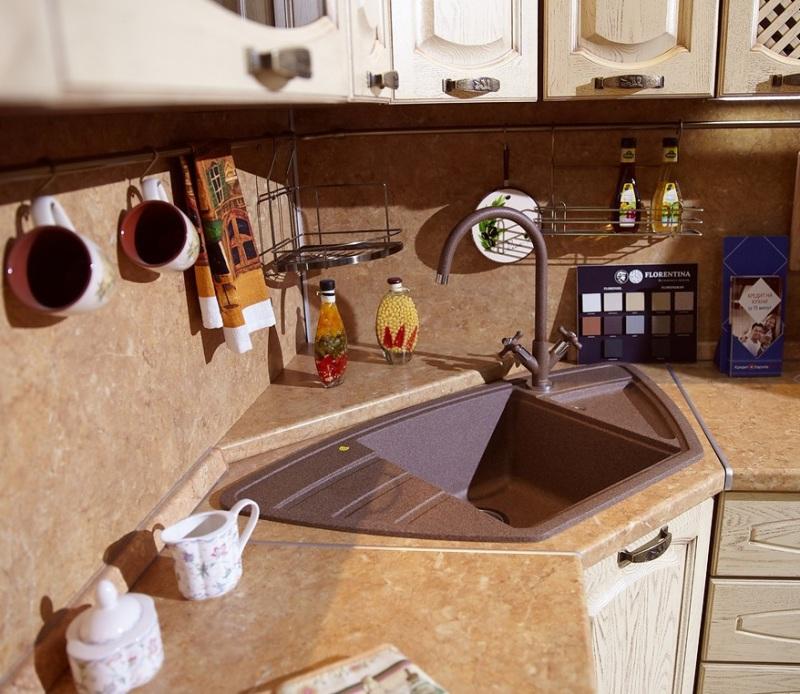 угловая мойка для кухни из искусственного камня